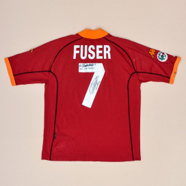 Roma 2001 - 2002 Match Issue Signed Home Shirt #7 Fuser (Good) XXL