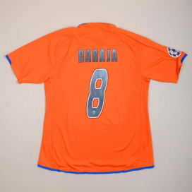 Valencia 2007 - 2008 Match Issue Champions League Away Shirt #8 Baraja (Excellent) L