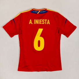 Spain 2012 - 2013 Home Shirt #6 Iniesta (Very good) S